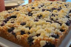 Blueberry platz.  Quick, easy, and can be made with any fresh or frozen fruit.  Best version of this cake I've tried.
