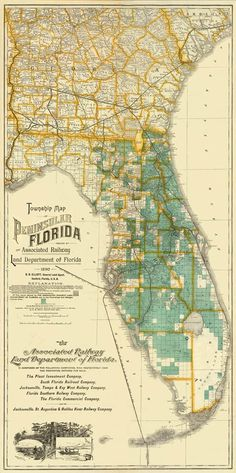 "Vintage map of Florida Print - x 35 "" Township Map, Peninsular Florida 1890 Vintage Florida, Old Florida, Florida Beaches, State Of Florida, Florida Maps, Florida Usa, Vintage Maps, Antique Maps, Vintage Posters"