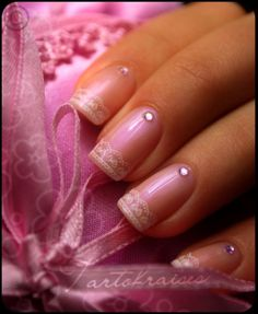 rhinestone-french-manicure-romantic-lace-art