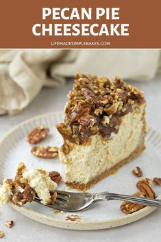 Two of my favorite desserts, Cheesecake and Pecan Pie, combine to make the most decadent and delicious dessert ever! This might not be the fastest recipe to make but it is worth every minute!  #pecanpiecheesecake #pecanpie #cheesecake #dessert Homemade Desserts, Healthy Dessert Recipes, Homemade Cakes, Delicious Desserts, Yummy Food, Pecan Pie Cheesecake, Cheesecake Recipes, Tall Cakes, Toasted Pecans