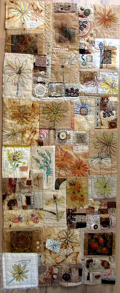 "Lovely patchwork art quilt: Jane LaFazio - ""I created a bunch of small quilts, often stitching as my evening ritual, and then, when a deadline draws closer, I sew them all together to create a larger quilt. Patchwork Quilting, Crazy Quilting, Crazy Patchwork, Art Quilting, Quilting Ideas, Quilting Templates, Textiles, Fabric Art, Fabric Crafts"