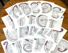 "26 Uppercase Zentangle Letters inspired by the font ""Harrington"""