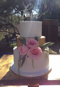 Wedding Cake with gold fondant  Saddlerock Ranch Wedding Cake by Frost It Cupcakery