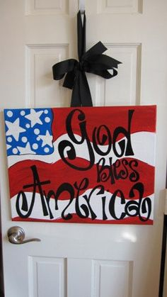 God bless AMERICA door Decor by sillysillygirls1 on Etsy, $30.00