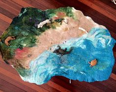 Medium sized hand felted play mat steiner waldorf imaginative play eco gift toy room decoration