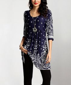 Flowing fabric promises figure-flattering comfort that ensure confident style to keep you looking your best from morning to night. Note: This is a one-of-a-kind item; prints may vary.Made for zulilySize S: 35'' long from high point of shoulder to hemModel: 5' 8'' tall; 33'' chest; 24'' waist; 35'' hipsKnit; fabric has stretch95% polyester / 5% spandexMachine wash; hang dryImportedShipping note: This item is made to order. Allow extra time for y...