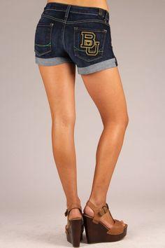 OCJ Apparel | Premium Collegiate Denim | Baylor Bears Cuffed Shorts Branded in Deep Indigo| www.ocjapparel.com