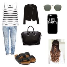"""""""Untitled #82"""" by antogentil1 on Polyvore featuring H&M, Topshop, Birkenstock, Ray-Ban, MANGO and Givenchy"""