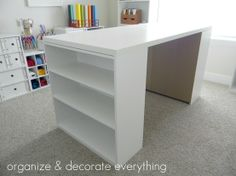DIY Craft Table – Worktable – Desk: Buy two $15 Walmart bookshelves and sheet of cabinet grade plywood. Use liquid nails to the underside of the table top to hold it in place between the 2 bookcases. Add baskets to store practically anything out of sight.