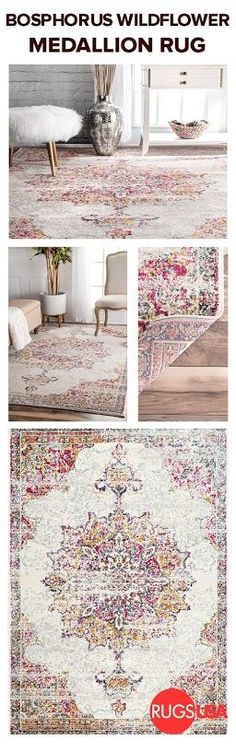 Craving much needed color for your home? Visit for this Bosphorus Wildflower Medallion rug… Decor, House Styles, House Design, Family Room, First Home, House Interior, Rugs, Home, Apartment Decor