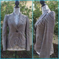 BANANA REPUBLIC BLAZER Beautifully tailored, gathered shoulders, brown, cream & blue , 100% wool, beautiful blue lining, one button closure, back vent pleat. Banana Republic Jackets & Coats Blazers