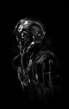Star Wars - Pilot. Low key. Black and White photography.  Dark. Mood. Black on black