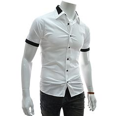 (EVSS23-WHITE) Slim Fit 2 Tone Patched Stretchy Short Sleeve Shirts