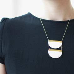 C a r l a - Statement necklace - Modern geometric jewelry  - Half-disc - White & gold porcelain