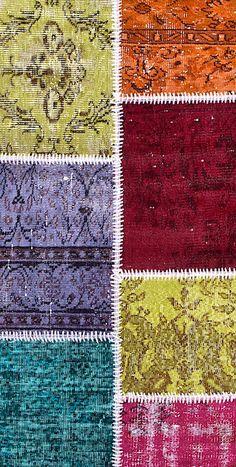 Vintage Patchwork Teppich - mozaiik Unikat Nr. 136TP Carpets, Bohemian Rug, Rugs, Design, Home Decor, Scrappy Quilts, Vibrant Colors, Vintage Rugs, Handarbeit