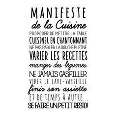 Sticker mural Manifeste de la cuisine  Noir  45 x 75 cm French Signs, Kitchen Quotes, Silhouette Portrait, Real Life, Branding Design, Funny Quotes, Inspirational Quotes, Positivity, Messages