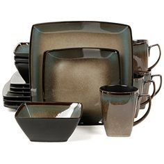 Gibson Elite Tequesta 16-Piece Square Dinnerware Set Taupe Gibson Elite /  sc 1 st  Pinterest & Dinnerware Set For 8 Square Stoneware Dishes Plates Salad Soup Bowls ...