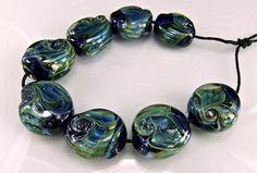 Blue Green Glass Lampwork  Bead Ser SRA Lampwork by skyvalleybeads