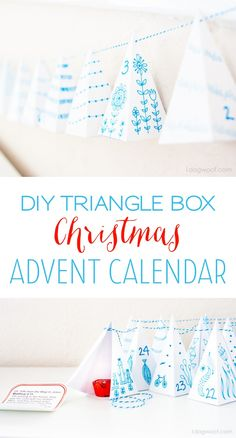 DIY Triangle Box Advent Calendar.  So cute and perfect for hiding a message or a treat | www.1dogwoof.com