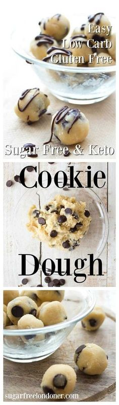 Looking for sugar free dessert bombs? Sugar free low carb cookie dough - a no bake chocolate chip dough that's gluten free and a delicious guilt-free treat. Ready in one minute! Keto Desserts, Desserts Sains, Sugar Free Desserts, Sugar Free Recipes, Low Carb Recipes, Paleo Recipes, Sugar Free Snacks, Sugar Free Diet, Diabetic Desserts Sugar Free Low Carb