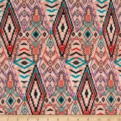 For kimono cardigan  Chiffon Geometric Tribal Peach/Black/Teal/Purple from @fabricdotcom%0A%0AThis very lightweight sheer fabric is perfect for scarfs, shawls, special occasion apparel, blouses and lingerie. This elegant and luxurious sheer chiffon fabric has an ultra soft hand and a beautiful flowing drape that feels lovely against the skin.