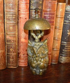 Antique Heavy Brass Owl Bell Desk Service by VintageFleaFinds