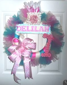 Shabby Chic New Baby Girl Wreath - Perfect for hanging on the hospital door and nursery door at home.
