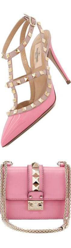 Valentino Lock Micro Mini Shoulder Bag Pink and Rockstud Patent Slingback