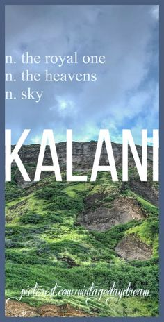 Baby Boy or Girl Name: Kalani. Meaning: The Royal One; The Heavens; Sky. Origin: Hawaiian. https://www.pinterest.com/vintagedaydream/baby-names/