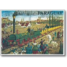 Erste Dampflokomotive Adler - Briefmarken-Block postfrisch, Paraguay