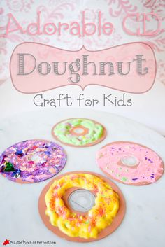 """Adorable Recycled CD Doughnut Craft for Kids - Make puffy paint """"frosting"""" and sparkle sprinkles. Perfect for craft time or to make after reading If you Give your Dog a Donut Craft Projects For Kids, Easy Crafts For Kids, Art For Kids, Activities For Kids, Craft Ideas, Craft Box, Art Projects, Frog Crafts, Cd Crafts"""