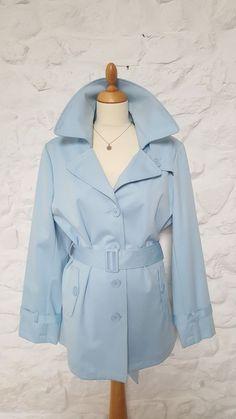 TG Double Breasted Trench Mac Truster Coat Jacket Blazer light blue Size 16 Mint #Blazer #TrenchCoat