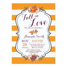 Fall in Love Bridal Shower Invitation Card - bridal shower gifts ideas wedding bride