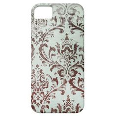 Aqua Chocolate Vintage Damask iPhone 5 Covers