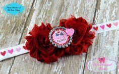 VALENTINES DAY Red Shabby Flower Elastic Headband Hearts Hugs Kisses Girls #Handmade