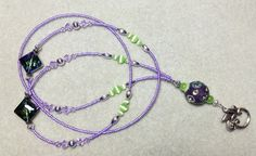 Fairy Light  beaded lanyard  purple and green glass by llanywynns, $18.00