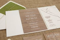 Christina Pandol - silkscreen on wood veneer wedding stationery / invitations - so lovely and unique!