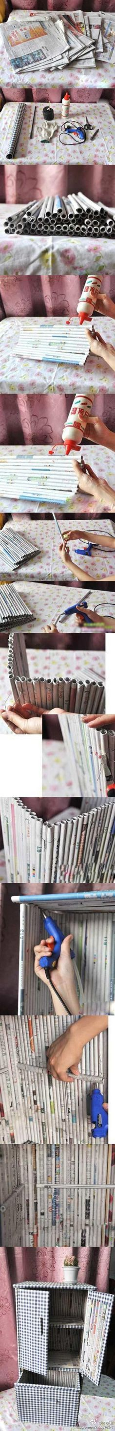 Amazing! How to turn old newspaper into a cupboard. (Tutorial)