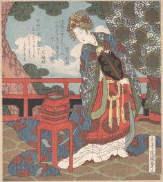 屋島岳亭: Lady with Fan Standing on Verandah - メトロポリタン美術館