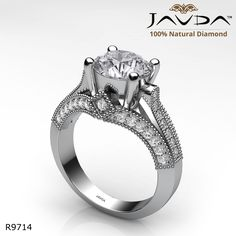 Milgrain 4 Prong Set Round Diamond Engagement Ring 14k White Gold.