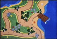 Children will have fun learning their ABC's while exploring the Sandy Shores Alphabet Rug. When they tire of playing by the water or fishing from the old they may decide to take a stroll along the alphabet pathway. The colorful scene will encourage students to use their imaginations as they play and reinforce learning.  #shadyshoresrug #sensoryedge #classroomrug http://www.sensoryedge.com/sandy-shores-alphabet-rug.html