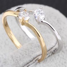 Fashion 18K Gold Plated Copper Ring Inlay Shiny Zircon Jewelry Finger Ring Two Colors