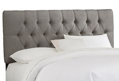 Thea Linen Tufted Headboard, Dove Gray on OneKingsLane.com