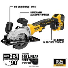 This brushless cordless in. circular saw comes with 1 blade, rip fence, dust port adaptor and blade change key. Hvac Tools, Carpentry Tools, Garage Tools, Woodworking Tools, Compact Circular Saw, Mini Circular Saw, Cordless Circular Saw, Dewalt Power Tools, Flyer Design