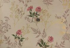 1940s wallpaper designs | old antique 1960's 60's vintage wallpaper floral gold metallic