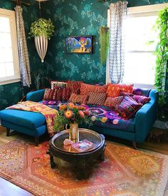 Mixing up fun & funky pillows is our jam! Throw pillows are the best secret weapon to styling your space ✨ #jungalow Hippie Living Room, Bright Living Room Decor, Moroccan Decor Living Room, Indian Living Rooms, Colourful Living Room, Morrocan Decor, Moroccan Room, Bohemian Living Rooms, Blue And Orange Living Room