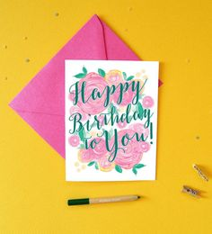 Pretty Birthday Card Birthday Cards Happy by MospensStudio on Etsy