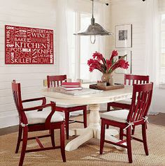 red/white typography print & dining chairs