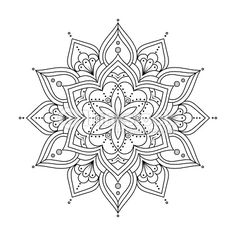 Vector Art : Outline Mandala for coloring book. Ethnic round elements.