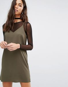 River Island 2 In 1 Cami Dress With Mesh Top